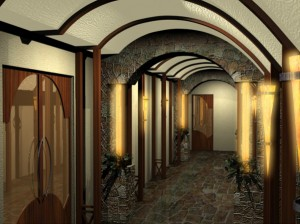 Реконструкция интерьера: коридор в дегустационный зал. Вариация на тему винный погреб