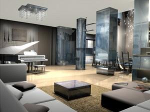 Общественная зона в гостиной с вариантом концертного освещения