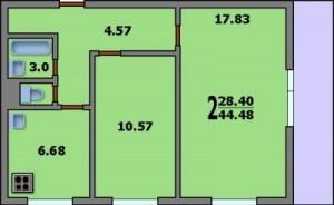 Двухкомнатная квартира. Планировка двухкомнатной квартиры в доме серии 1605/12. Общая площадь квартиры 44,48 кв. м. Жилая площадь 28,40 кв. м. Кухня 6,68 кв. м. Санузел раздельный. Площадь ванной комнаты 3,0 в. м.