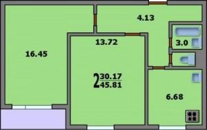 Двухкомнатная квартира. Планировка двухкомнатной квартиры в доме серии 1605/12. Общая площадь квартиры 45,81 кв. м. Жилая площадь 30,17 кв. м. Кухня 6,68 кв. м.  Санузел раздельный. Площадь ванной комнаты 3,0 кв. м.